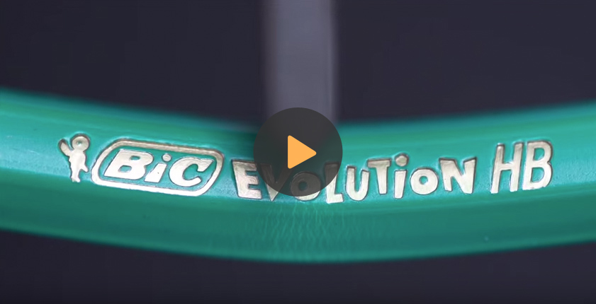 Folded green BIC evolution pencil
