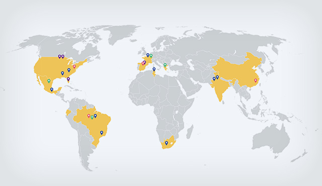 map of BIC's worldwide presence