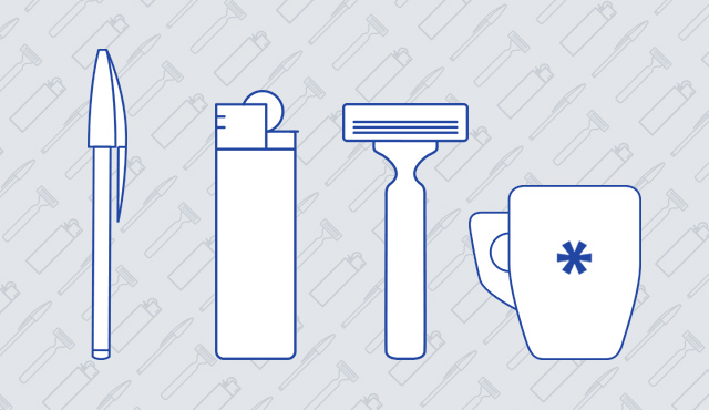 blue outline of a pen, a lighter, a razor and a mug