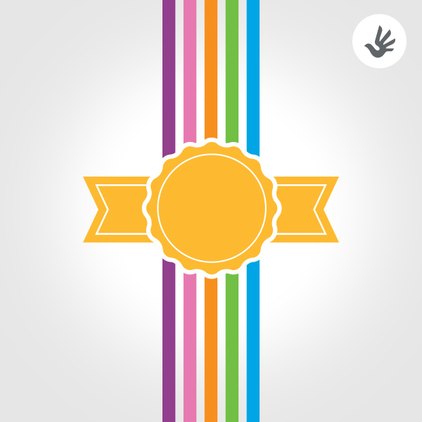gold badge and colorful lines