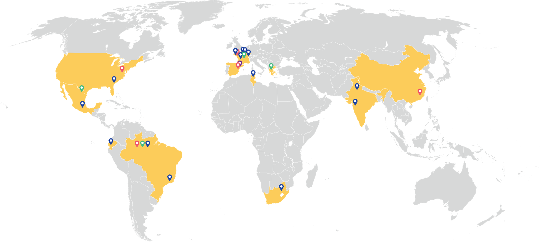 global map of BIC factories